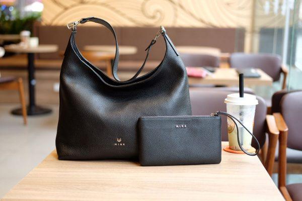 Bộ đôi túi xách, clutch HANAH & KANDY màu đen