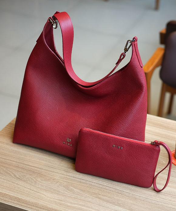 Hanad hobo bag Kandy clutch Red leather - MINK Leather
