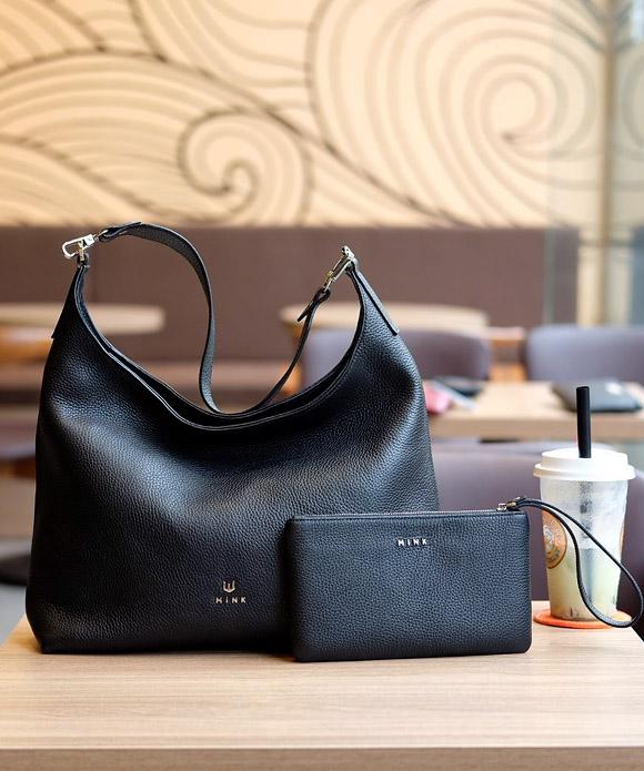 Hanad hobo bag - black leather